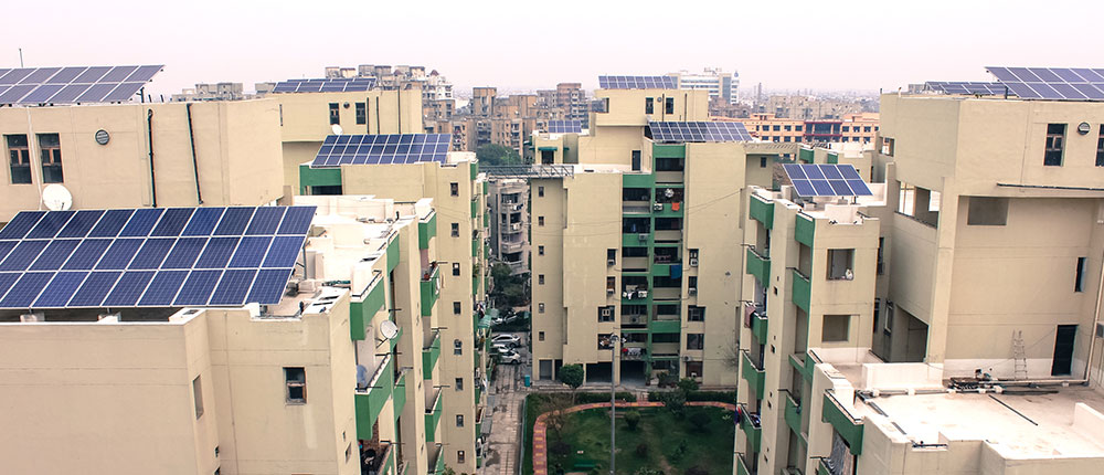 Solar panels on roofs in India Delhi.
