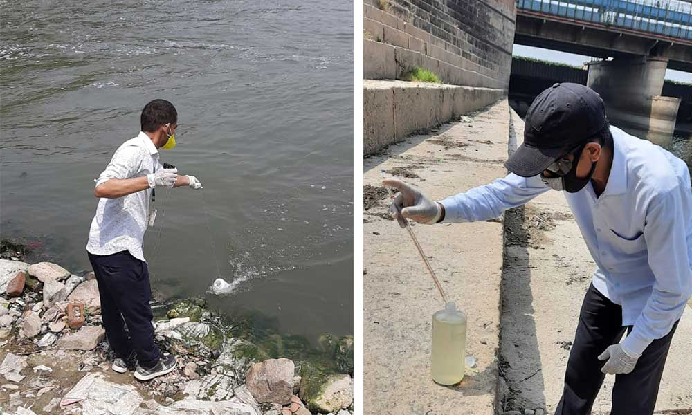 Sample collection of yamuna water